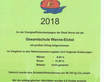 Gesamtschule Wanne-Eickel Energiespar-Urkunde